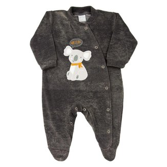 Macacão Bebê Ano Zero Plush Jeans Laserwash Urso Coala masculino