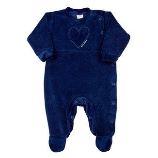 Macacão Bebê Ano Zero Plush Liso e Plush Cotelê Coração Feminino