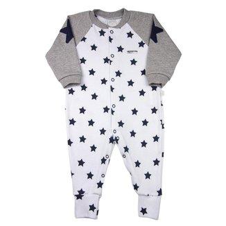 Macacão Bebê Ano Zero Suedine Estampado Estrelas Masculino