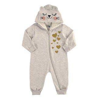 Macacão Bebê Infantil Com Capuz Gatinha Marlan