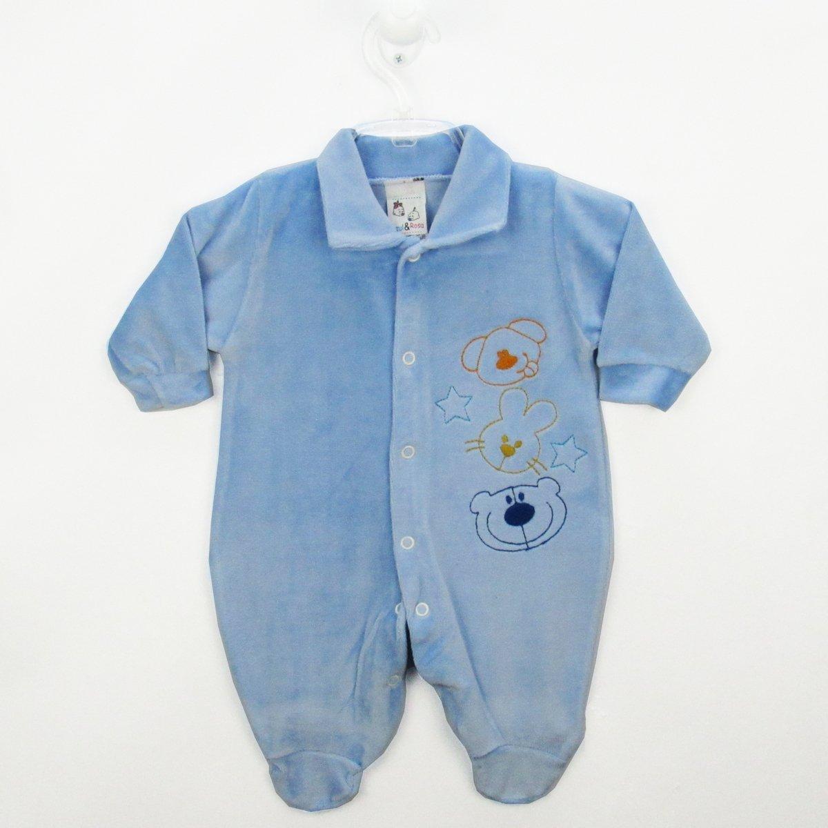 2032b53b5e3fa8 Macacão Bebê Masculino Longo Plush Bordado Azul Claro Bichinhos-RN - Azul