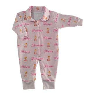 Macacão De Bebê Com Botões Estampa Ursinha Princesa