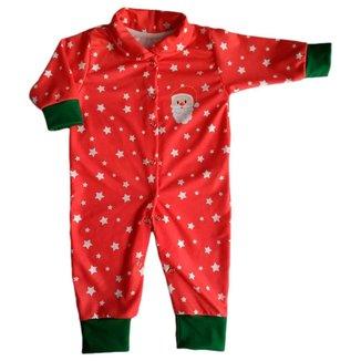 Macacão De Bebê Com Botões Natal Papai Noel
