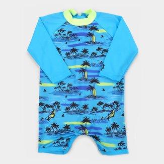Macacão de Praia Infantil Marlan Estampado UV 50+ Manga Longa Masculino