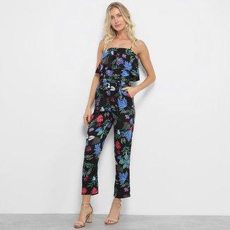 Macacão Estampado Floral Lily Fashion Feminino