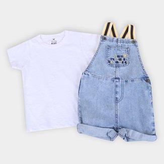 Macacão Jeans Bebê Hering + Camiseta Básica Masculino