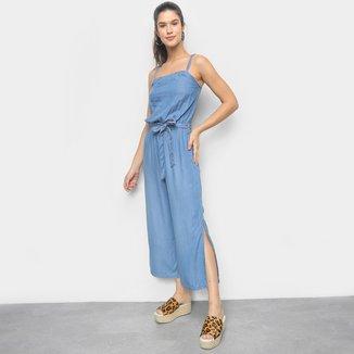 Macacão Jeans Cambos Pantacourt Amarração Feminino