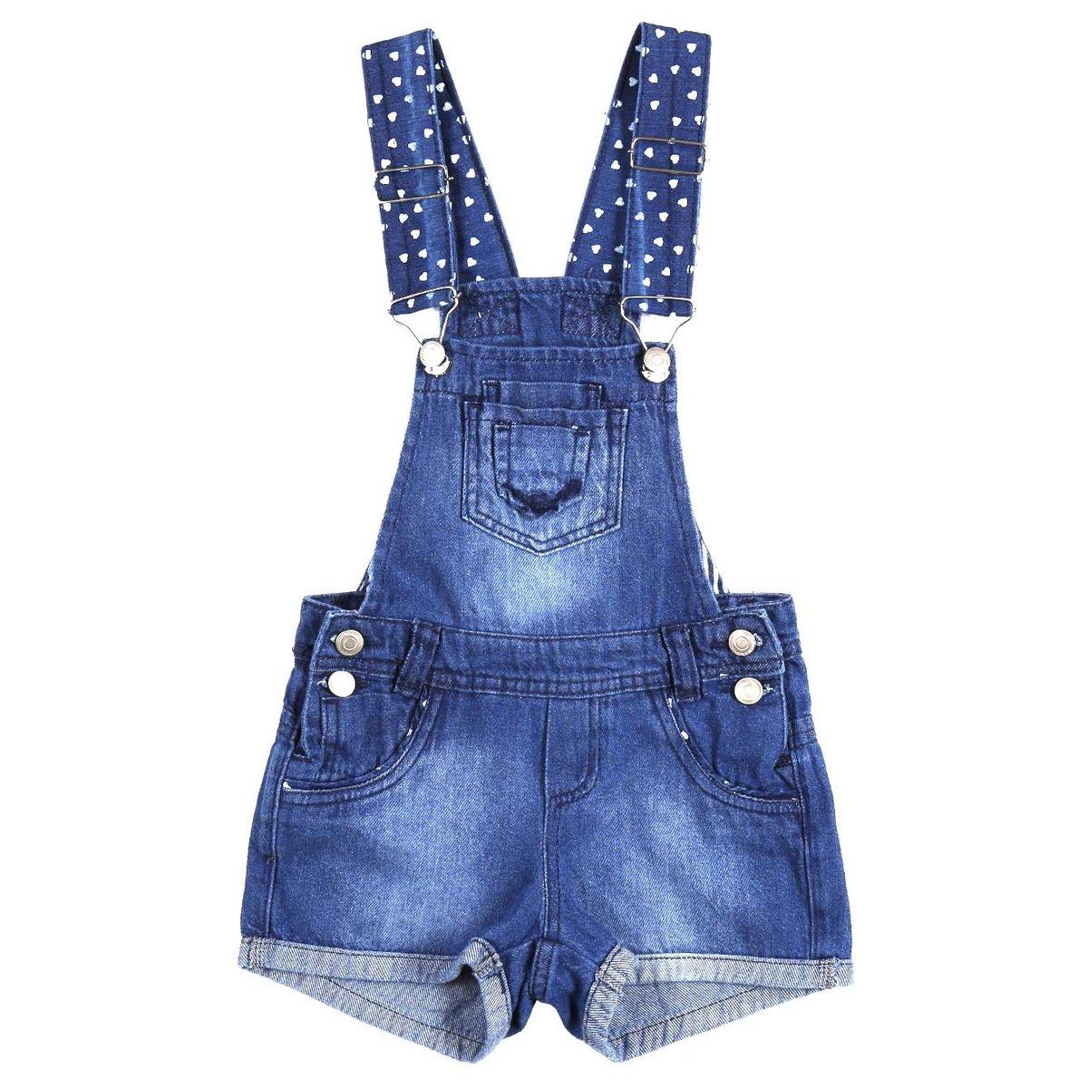 af3828972 Macacão Jeans Infantil Jardineira Para Menina - Azul - Compre Agora ...