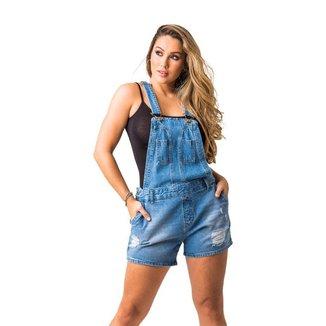 Macacão Jeans Zune Feminino Moderno Casual Conforto Macia