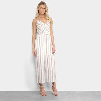 Macacão Lily Fashion Listrado Botões Feminino