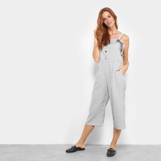 Macacão Lily Fashion Listras Botões Feminino