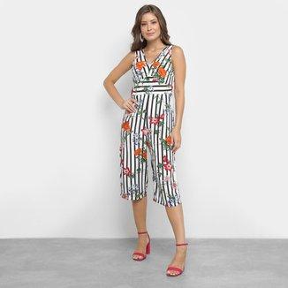 Macacão Lily Fashion Pantacourt Listrado Floral Feminino