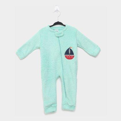 Macacão Pijama Bebê Candy Kids Barco Sem Pé Masculino