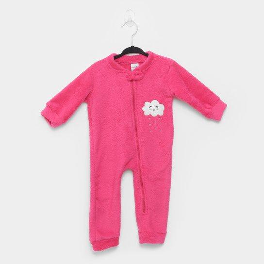 Macacão Pijama Bebê Candy Kids Nuvem Sem Pé Feminino - Pink