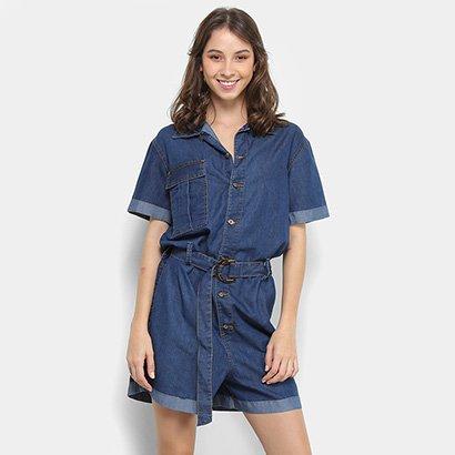 Macaquinho Razon Jeans Cinto Feminino-Feminino