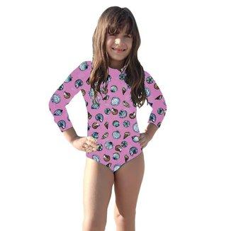 Maiô Body Infantil Proteção Uv50+ Moda Praia Piscina Lazer Malha Fria Verão