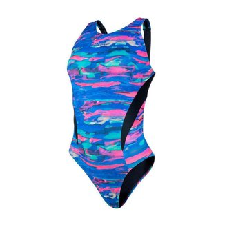 Maiô nadador tira larga estampado com detalhe Mormaii