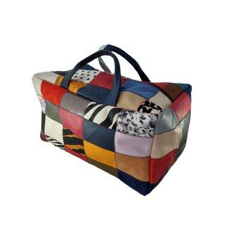 Mala de Viagem TopGrife Couro Patchwork Multicolorido