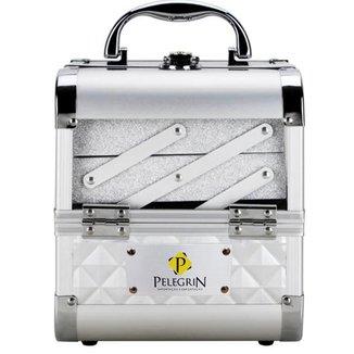 Maleta Maquiagem Joias Alumínio e Acrílico Pelegrin PEL-M1011 Prata