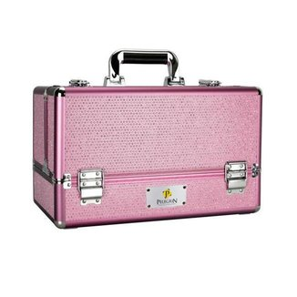 Maleta Maquiagem Joias Manicure Alumínio ABS Pelegrin PEL-M1015 Rosa Cristal