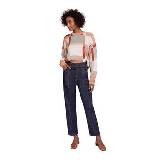 Maria Valentina Calça Maria.Valentina Mom Cós Alto Com Recorte Jeans