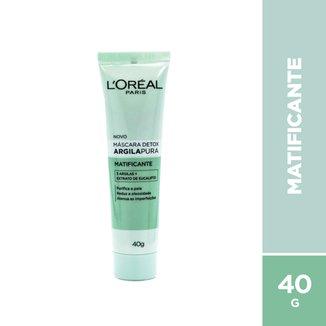 Máscara Facial Argila Pura Detox Matificante L'Oréal, 40g