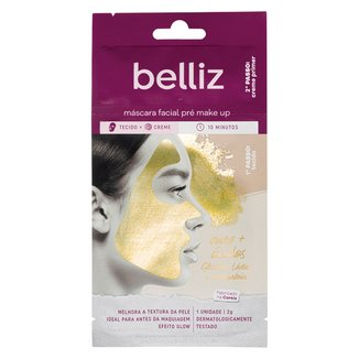 Máscara Facial Belliz Pré Make Up com Ouro