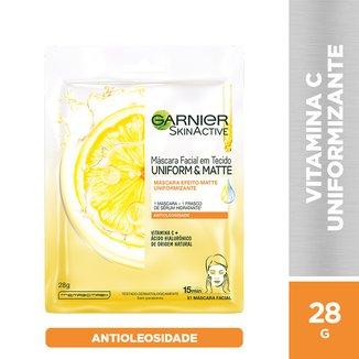 Máscara Facial Vitamina C Garnier Skin Uniform&Matte - 28g