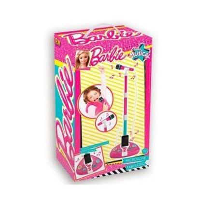 Microfone Com Base Fun Barbie Karaokê
