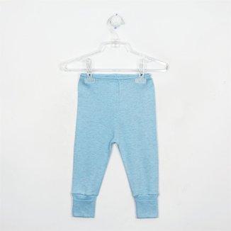 Mijão Bebê Masculino Mescla com Pé Reversível Azul Claro-M
