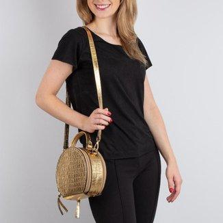 Mini bolsa redonda de couro Renata