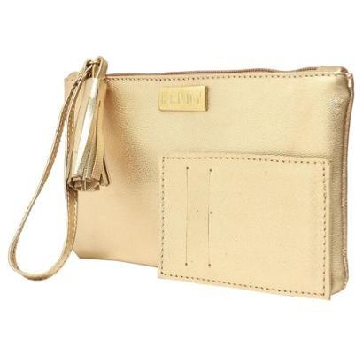 Mini Hendy Bag Com Porta-Cartao Couro Dourado-Feminino