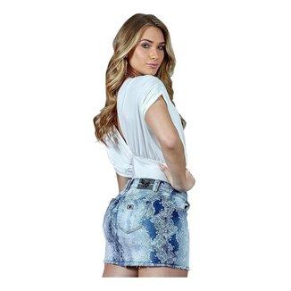 Mini Saia Caccau Jeans   Feminino