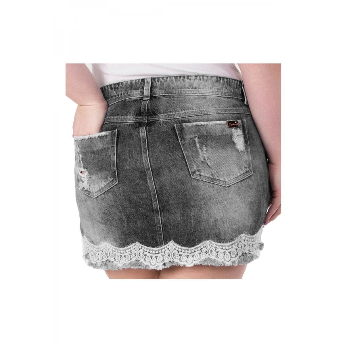 Mini Saia Jeans Confidencial Extra com Renda Plus Size - Preto