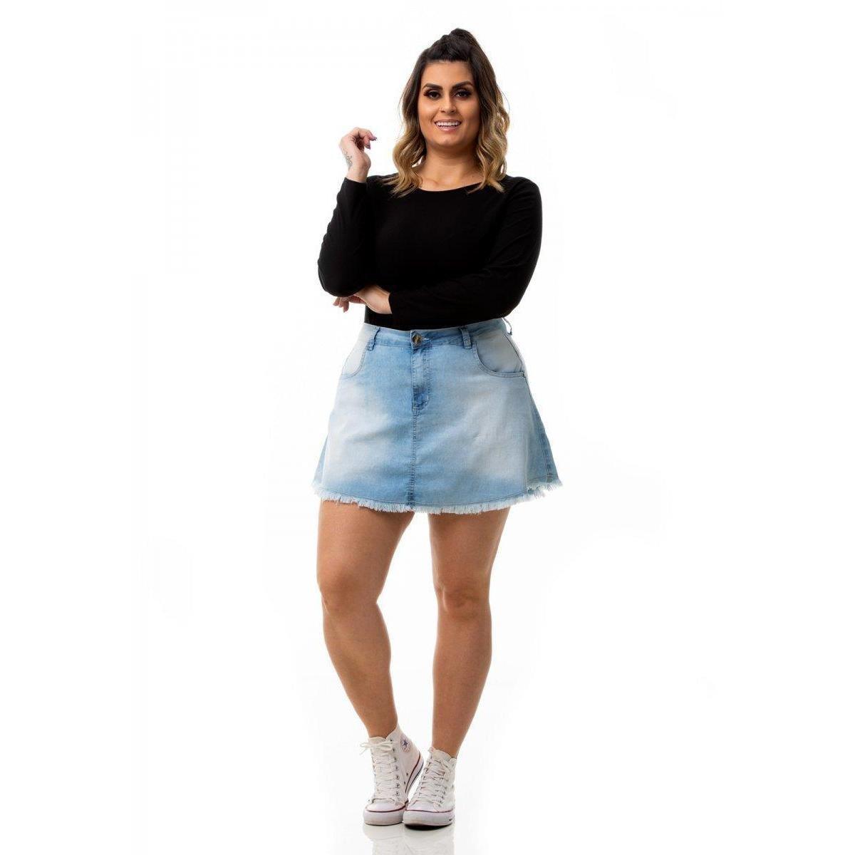Mini Saia Jeans Evasê Plus Size - Azul