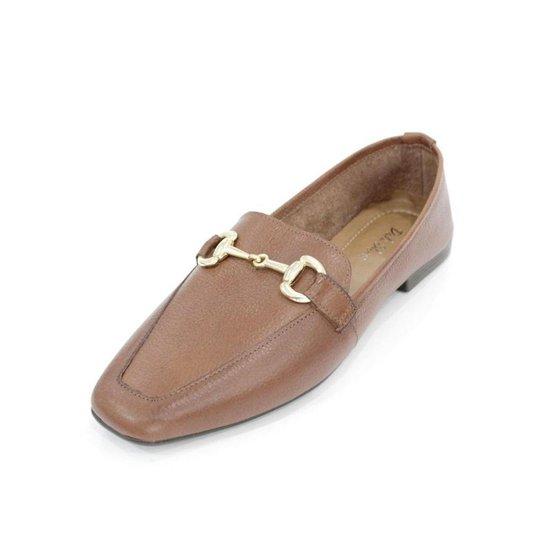 Mocassim Couro Dali Shoes com Bridão Feminino - Marrom