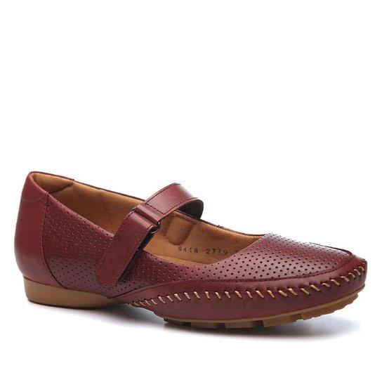 Mocassim Couro Doctor Shoes 2779 Feminino - Vinho