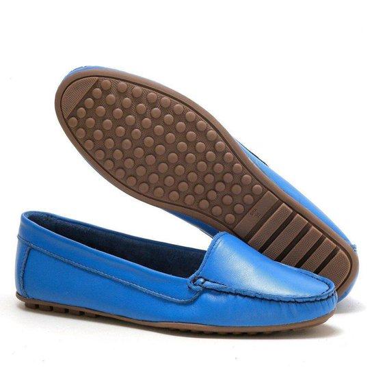 Mocassim Couro Miuzzi Feminino - Azul
