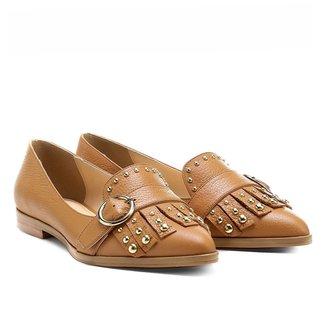 Mocassim Couro Shoestock Bico Fino Mix Metais Feminino