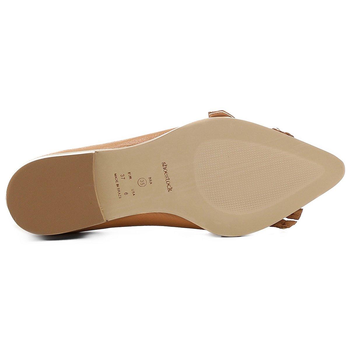 Mocassim Couro Shoestock Bico Fino Mix Metais Feminino - Caramelo