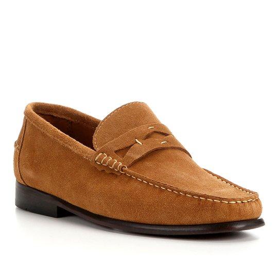 Mocassim Couro Shoestock Camurça Gravata Masculino - Caramelo