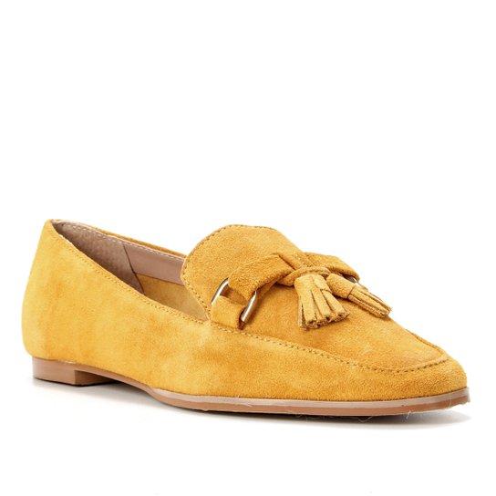 Mocassim Couro Shoestock Camurça Tassel Feminino - Amarelo