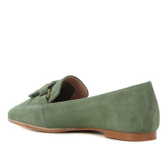 Mocassim Couro Shoestock Camurça Tassel Feminino - Verde