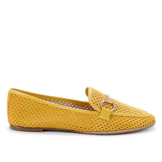 Mocassim Couro Shoestock Camurça Vazado Bridão Feminino - Amarelo