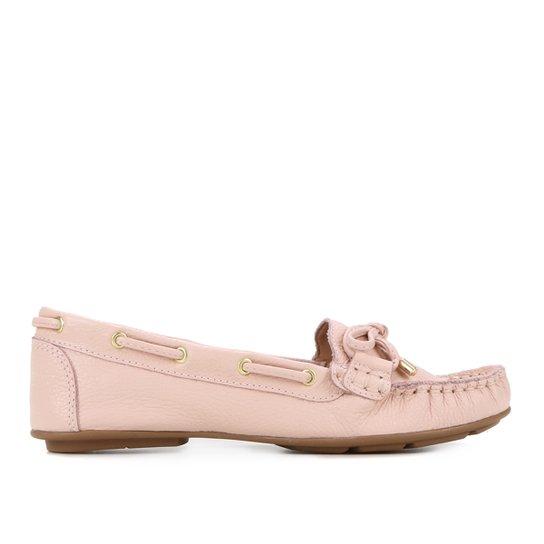 Mocassim Couro Shoestock Comfy Ilhós Feminino - Rosa Claro