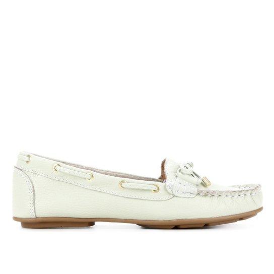 Mocassim Couro Shoestock Comfy Ilhós Feminino - Verde claro