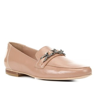 Mocassim Couro Shoestock Corrente Feminino