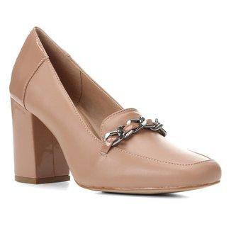 Mocassim Couro Shoestock Corrente Salto Alto Feminino