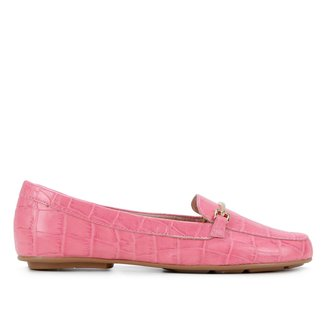 Mocassim Couro Shoestock Croco Bridão Feminino