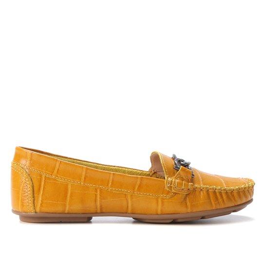 Mocassim Couro Shoestock Croco Gravata Metal Feminino - Amarelo